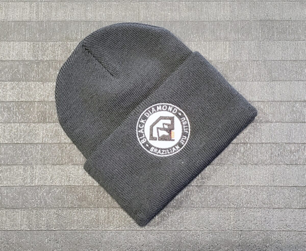 Black Diamond BJJ Embroidered Logo Black Beanie Cap
