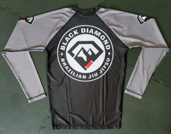 Black Diamond BJJ Light Gray Full-Sleeve Rash Guard Back