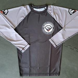 Black Diamond BJJ Light Gray Full-Sleeve Rash Guard Front