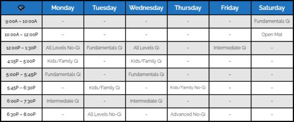 Black Diamond Brazilian Jiu-Jitsu Training Schedule-3-22-2021